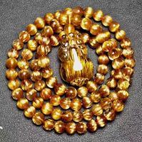 expensive free shipping AAAAA 22*15*11mm Natural Copper Rutilated Quartz Cat Eye yu Beads Bracelet/
