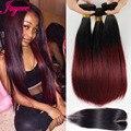 Produtos de cabelo rosa fechamento rendas com pacotes ombre borgonha Cabelo Brasileiro Virgem Reta feixes de cabelo Brasileiros com fechos