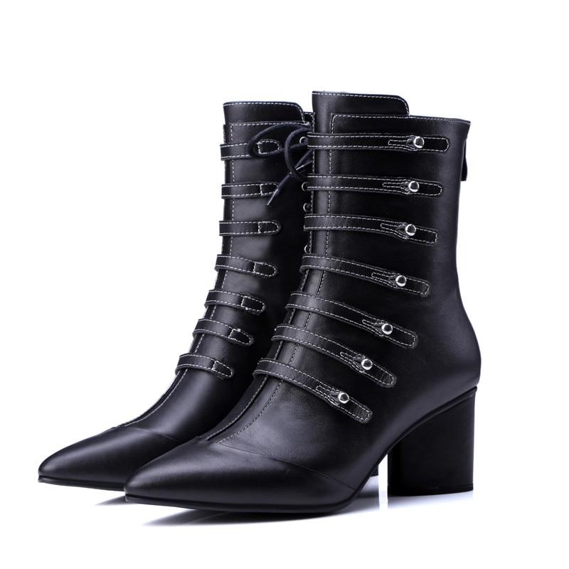 D'hiver Nouvelle 2 Mode Black black Cheville Daim Bottes Épais 2018 Pointu Noir 1 Femmes Talons Pour Chaussures Bout Arrivée Smirnova En De Cuir fxqwTH5qR4