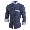 De Los nuevos Hombres de Moda Casual de Los Nuevos Hombres A Cuadros Clásicos de manga larga Camisa de la Venta hombres de la Alta Calidad camisas