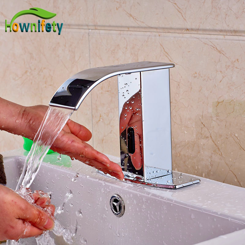 Widespread Chrome Finish Automatic Sensor Waterfall Bathroom Hot and Cold Faucet Tap One Hole