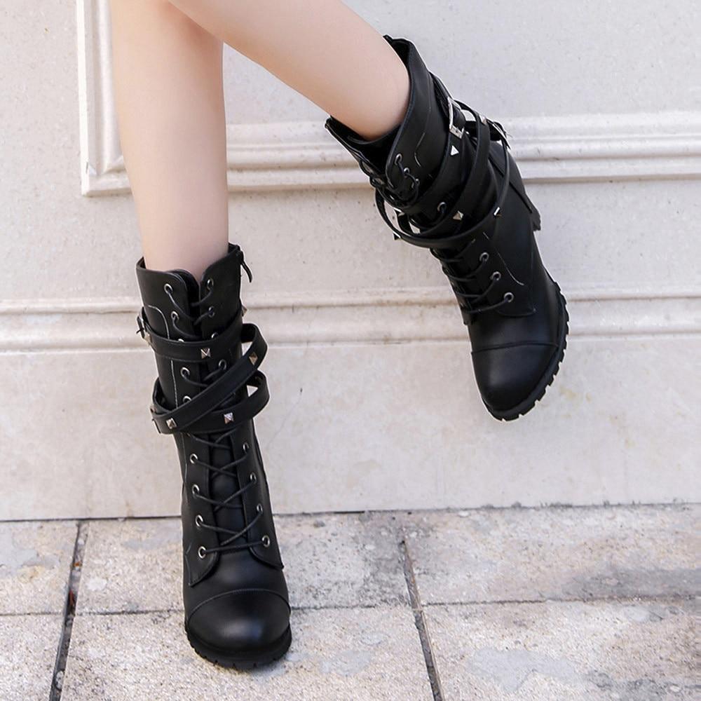 shoes Boots Women Ladies Classics Rivet Belt High Heels Mid-Calf Boots Shoes Martin Motorcycle Zip boots women 2018Oct31 10