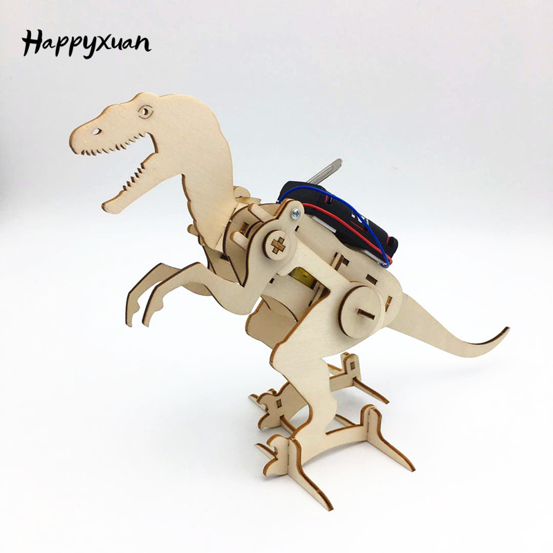 Happyxuan Science Kit Kids Innovative Electric Construction Set DIY T Rex Model Interesting Boys Craft Toy Physics Fun Education