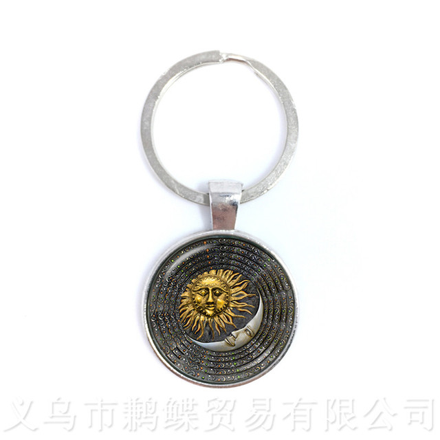 Peace Symbol Sun God Time Gem Keychains European And American