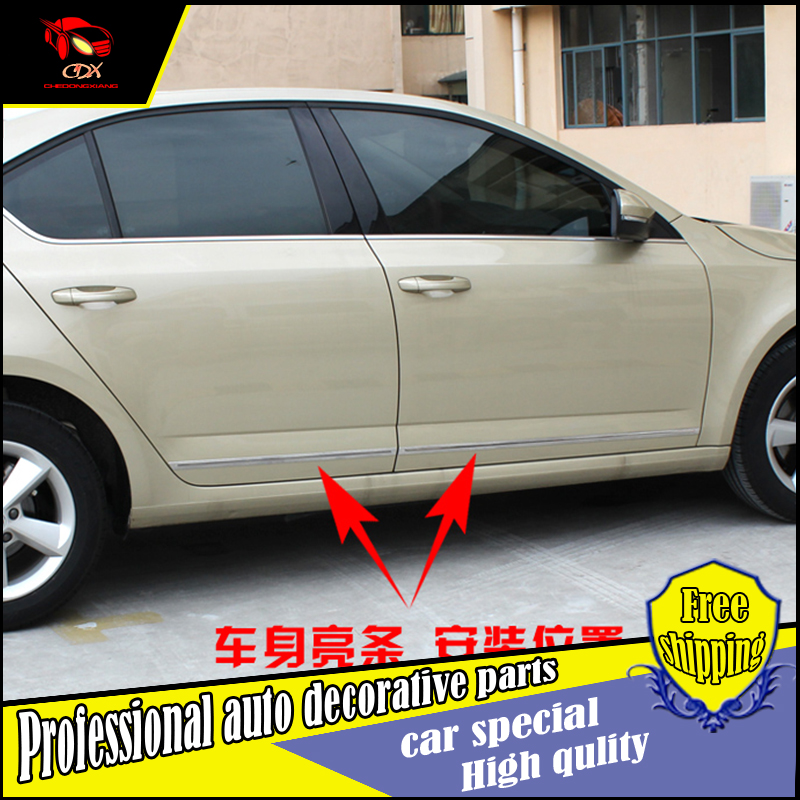 NEW ACCESSORIES For Skoda Octavia A7 2015 2016 STAINLESS STEEL SIDE DOOR BODY GARNISH MOULDING COVER TRIM PROTECTION CAR STYLING car usb sd aux adapter digital music changer mp3 converter for skoda octavia 2007 2011 fits select oem radios
