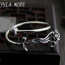 Fyla Mode 925 Sterling Silver Retro Lotus & Lotus Leaves Adjustable Bangle Heavy Antique Thai Silver Bracelet 3.50mm 35.80G