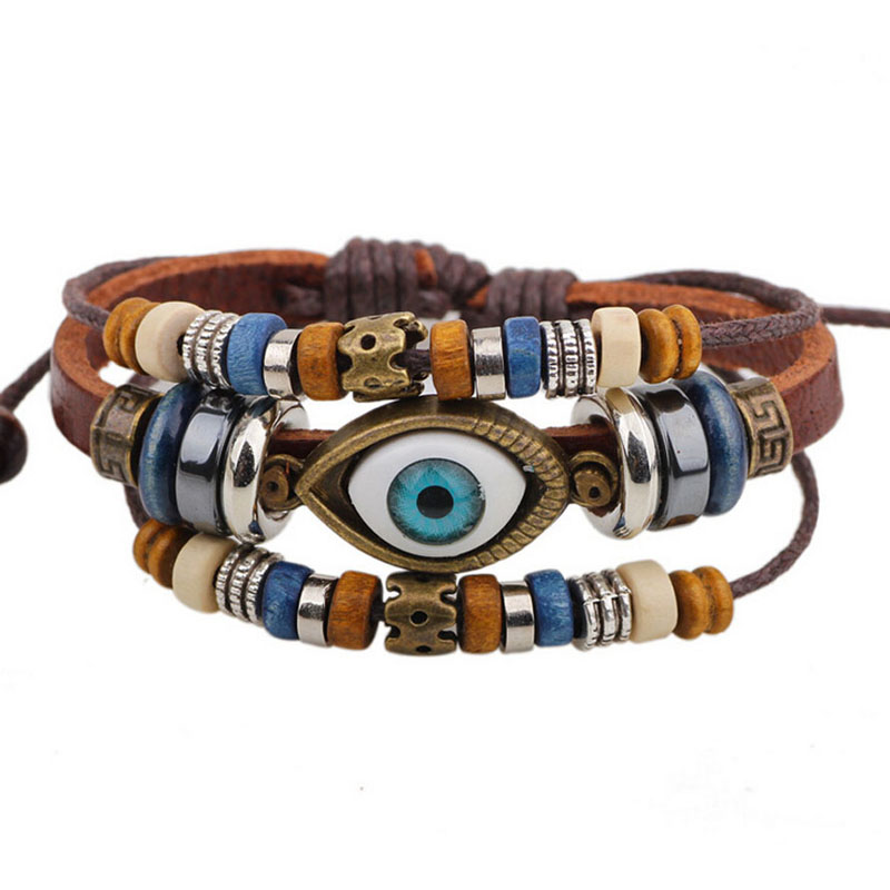 BA172 Wholesale Handmade 6 Color Turkish Evil Eye Leather Adjustable Bracelet Wristband Jewelry Bijouterie Unisex Girls Woman