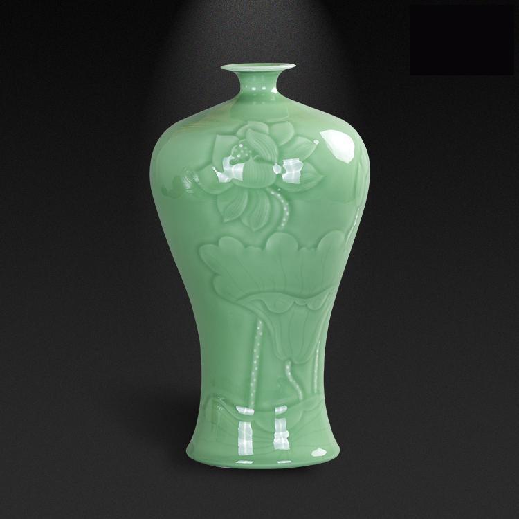 Jingdezhen Jade Jadeware Vase Vase, Flower Room Model Room lotus carving Decoration New Chinese Ceramics Ancient vase green vase