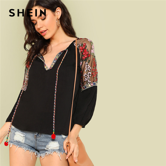 671b9f6510 SHEIN Black Embroidered Floral Mesh Insert Pompom Tie Neck Top Casual V Neck  3/4 Sleeve Blouses Women Autumn Bohemian Tops
