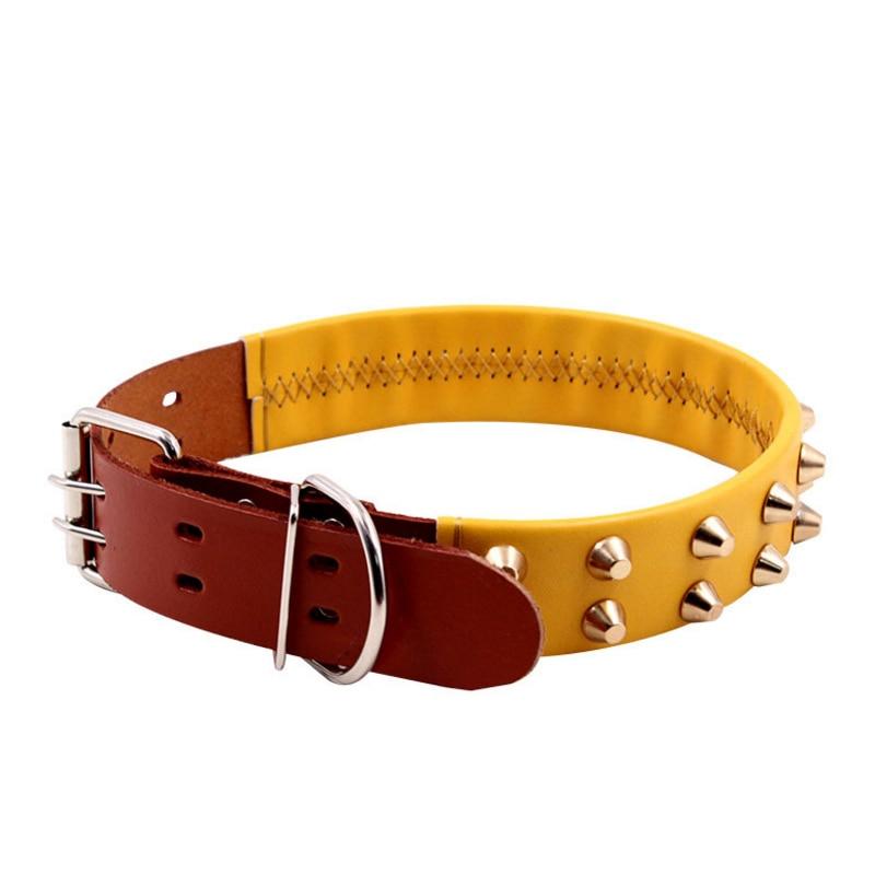 Собака кожаный ошейник Pet тяги цвет кожи заклепки малых и средних щенки тяги воротник ошейник для домашних животных