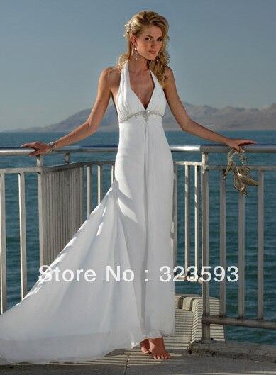 Free Shipping Fashion Beaded Rhinestone On White Chiffon Beach Wedding Dresses 2017 Ankle Length Court Train