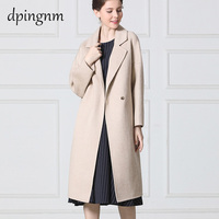 High end big name women's cashmere Nizi coat Korean version of the long loose double sided coat windbreaker