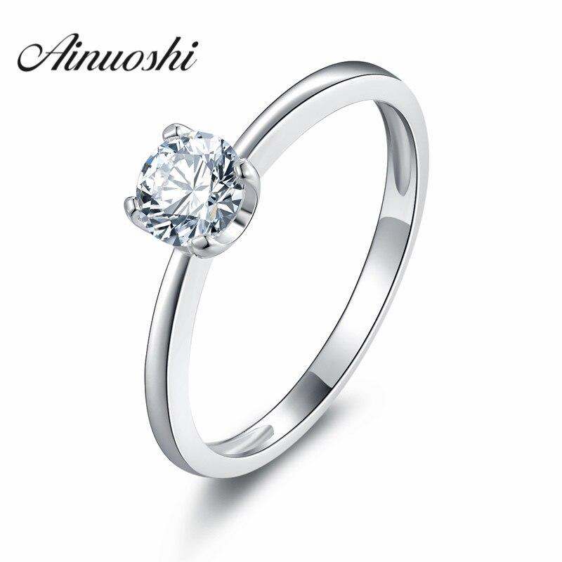 85f8184b9ddb Ainoushi promoción grande! 100% real sólido 925 anillo de plata esterlina  Sona compromiso boda joyería regalo para las mujeres