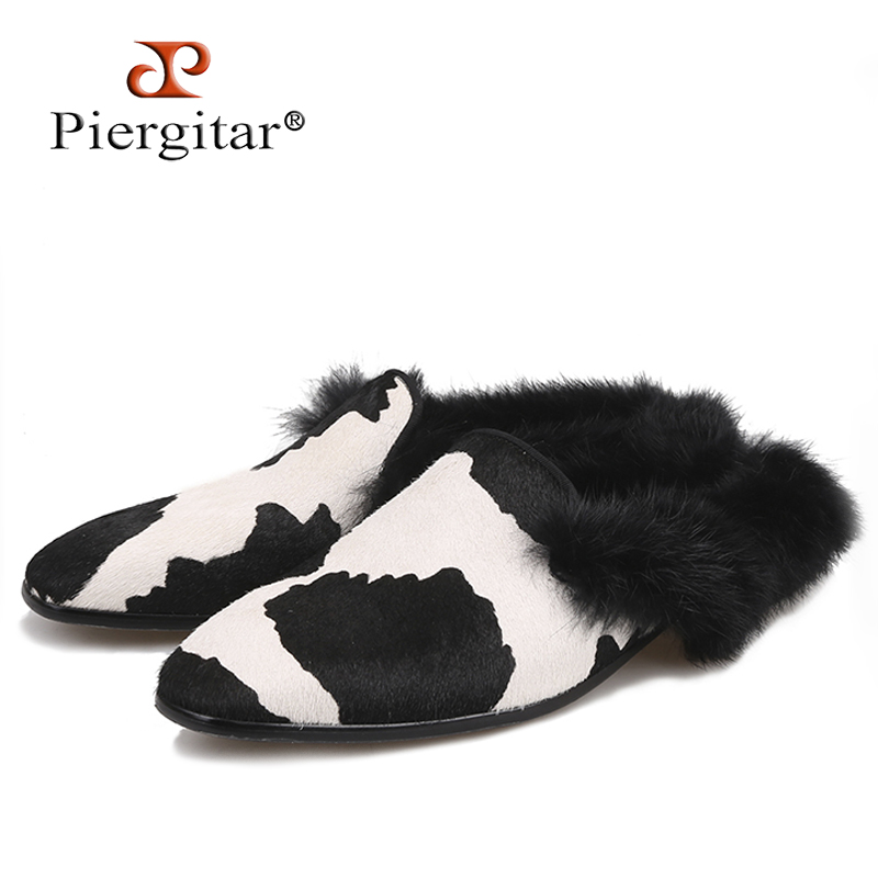 Piergitar new style Horsehair men s slippers with Fur back designs Fashion Show men s dress