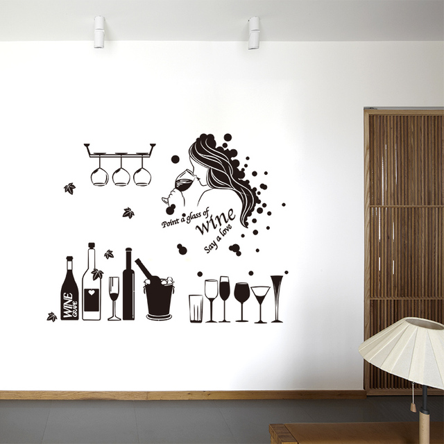 Creative Wine Wall Sticker Girl Handmade Bar Windows Sticker For Pub Party  Shop Wall Art Decals