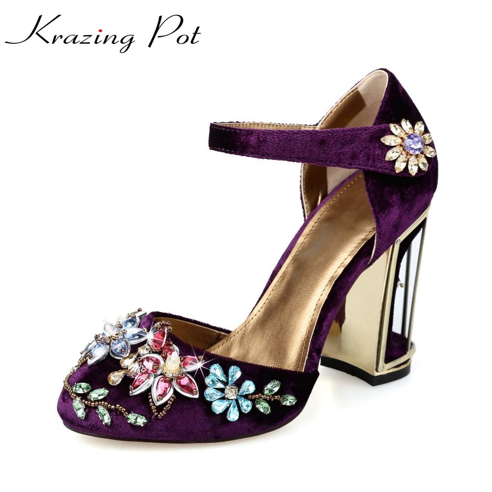 New beading flower crystal gladiator thick super high-heel round toe limit velvet strange style women high quality brand shoes L brand fashion beading crystal solid gladiator pumps thick high heel round toe velvet bird cage party women wedding shoes l0f1