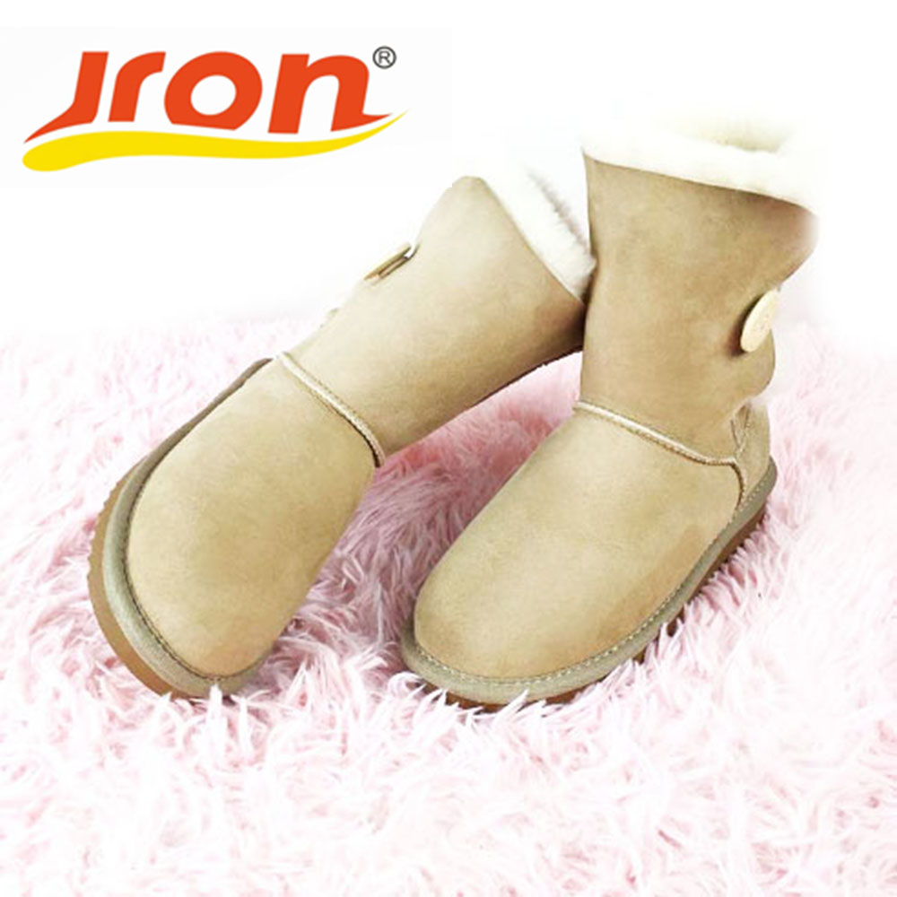 Jron Mid-Calf Genuine Sheepskin Leather Woman Shearling Snow Boots Rubber Sole Anti-slip Function Warm Boots For Winter Autumn double buckle cross straps mid calf boots