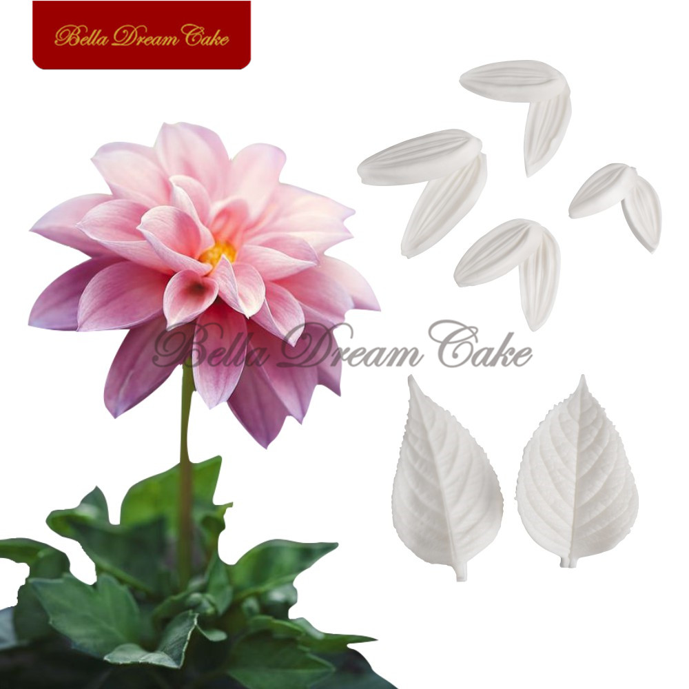 Dahlia flower petals leaf silicone mold cake decorating chocolate dahlia flower petals leaf silicone mold cake decorating chocolate baking tools fondant sugarcraft gumpaste mould in cake molds from home garden on izmirmasajfo