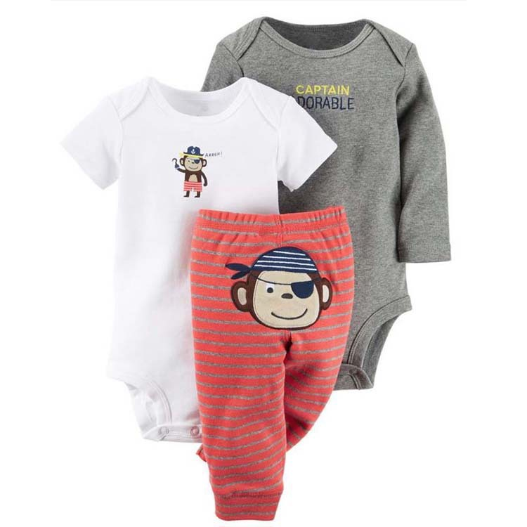 3 Pieces Sets Children animal cartoon Kids boy girl clothing long-sleeved short sleeve 2 ...