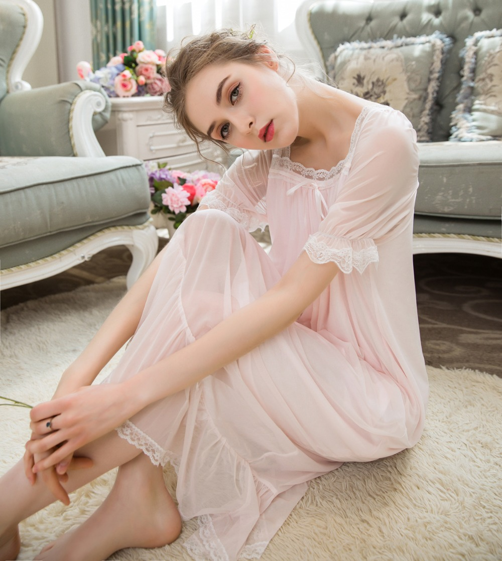 2018 New Gomxigong Translucent   Nightgowns     Sleepshirts   Women Sleepwear Palace Princess Nightwear Party Dresses Short Sleeve 0262#