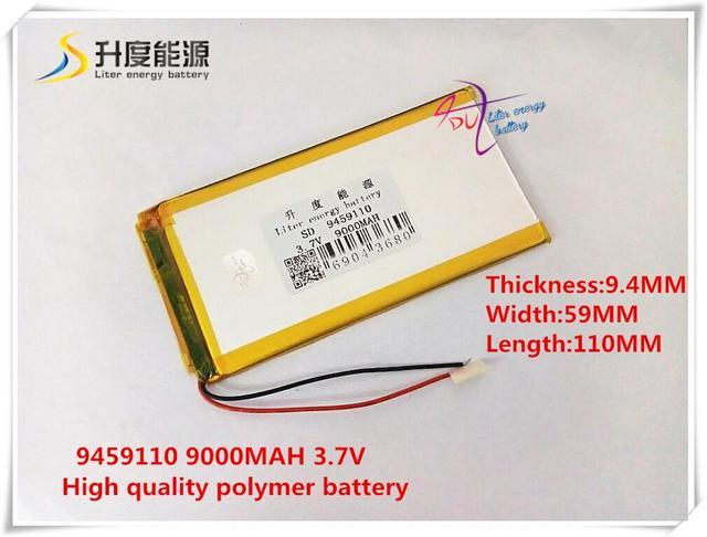 3.7 V 9000 mAH 9459110 bateria De Polímero de iões de lítio/bateria de Iões de lítio para BANCO DE POTÊNCIA, tablet pc, câmera do dvr, GPS, telefone celular; MP4, PALESTRANTE