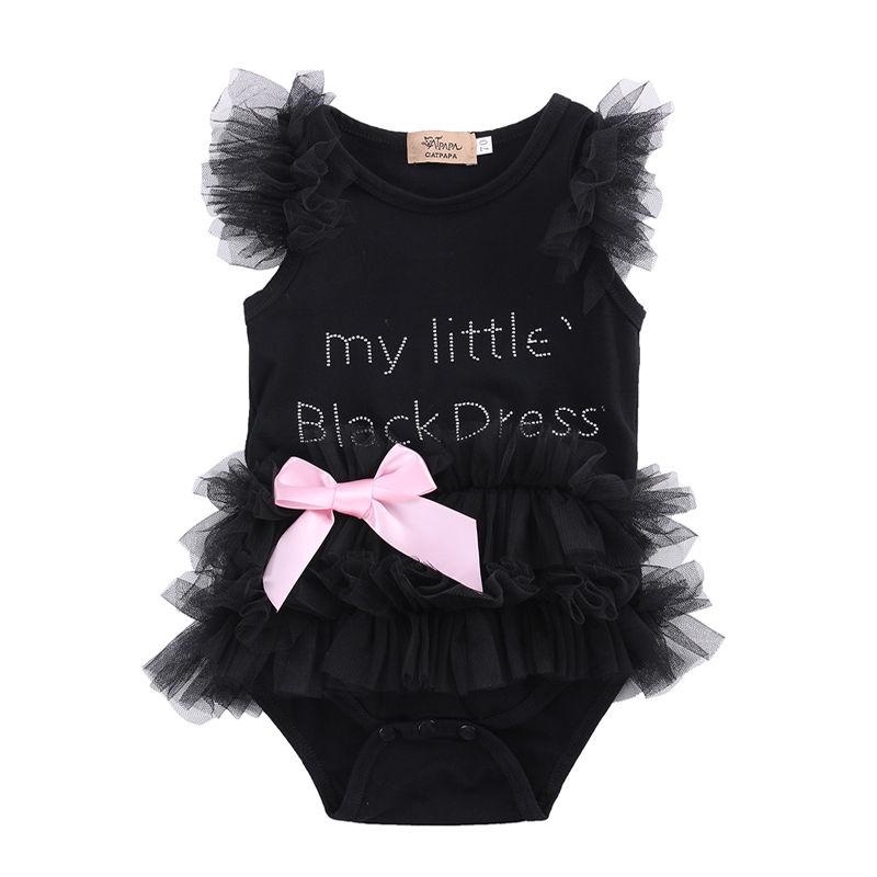 Lindo niños recién nacido bebé niñas arco bordado poco vestido negro niño moda Romper Jumpsuit