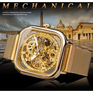 Image 2 - Forsining Goldene Männer Automatische Uhr Platz Skeleton Mesh Stahl Band Mechanische Business Uhr Relogio Masculino Erkek Kol Saati