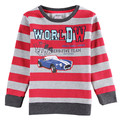 Nova embroma la ropa 2015 de la venta caliente nuevo diseño de la raya impreso coche patrón de manga larga camiseta Para 2-6y Niños Bebés para la primavera otoño