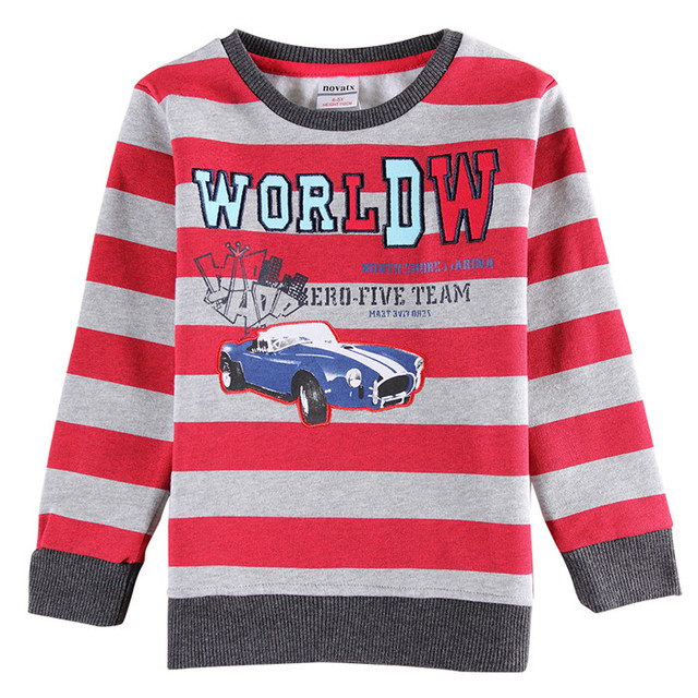 Nova kids clothes 2015 hot sale new design stripe printed car pattern long sleeve T shirt For 2-6y  Baby Boys  for spring autumn