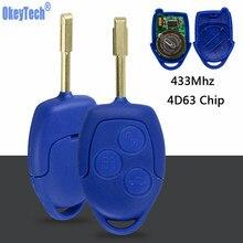 OkeyTech дистанционный Автомобильный ключ 433 МГц 4D63 чип FOB 3 кнопки FO21 лезвие для Ford Transit WM VM 2006-2014 P/N: 6C1T15K601AG