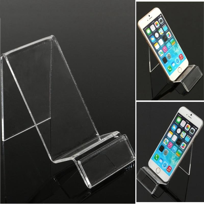 Универсальный прозрачный show держатель мобильного телефона Пластик Дисплей Стенд сотовый телефон Планшеты стойки Кронштейн для iPhone 7 8 X для …