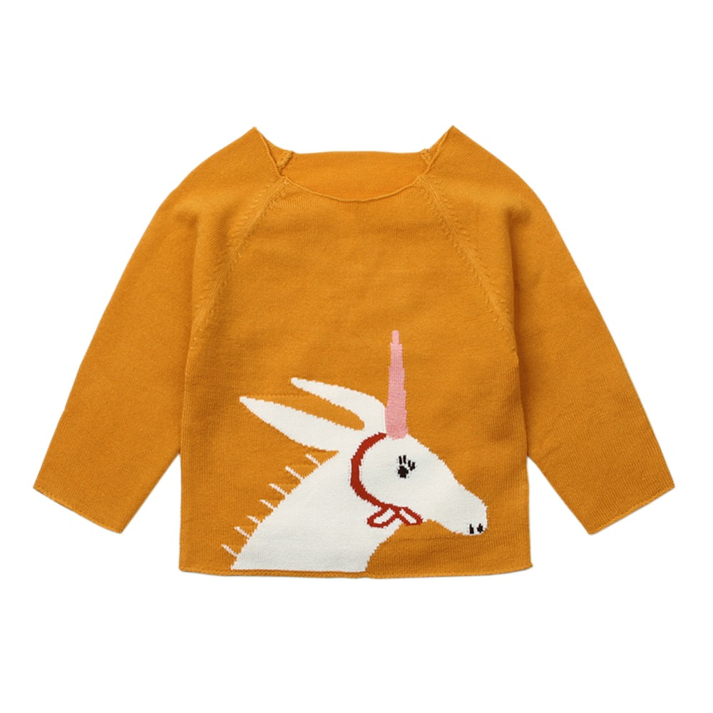 Girls Cardigan Knitted Sweater Autumn Winter Kids Pullover Long Sleeve Clothes Lovely Cartoon Horse Top Soft Girl Baby