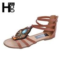 2016 New Women Flat Sandals Rhinestone String Bead Casual Flats Elegant Ankle Strap Summer Shoes Woman