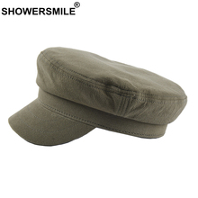 SHOWERSMILE Military Hat Women 100% Cotton Captain Cap Army Green Solid Female Casual British Ladies Spring Autumn Flat 2019