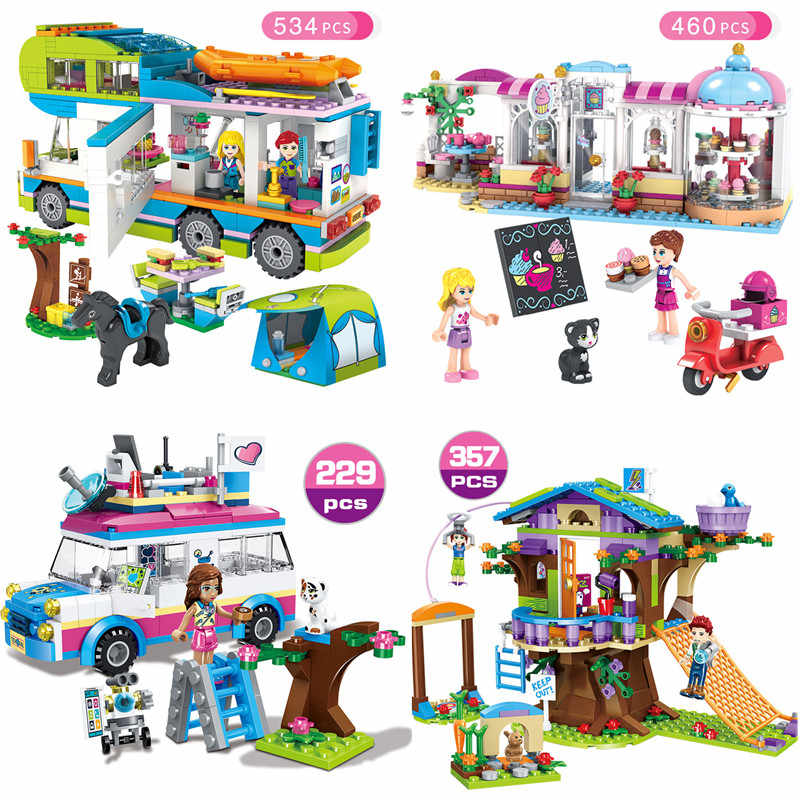 Gril Friends Series Heart Lake City Girls Club Street Model Building Blocks Pink Cake Cafe Blue Camper Friend Toys Gift