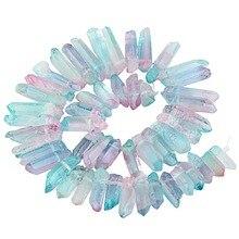 SUNYIK Rosa Azul Titanio Recubierto de Cristal de Cuarzo Puntos Perforados Pega Picos 16 pulgadas Strand
