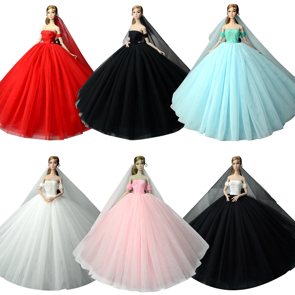 NK 2020 News One Pcs Princess Wedding Dress Noble Party Gown For Barbie Doll Fashion Design Outfit Best Gift For Girl' Doll JJ image
