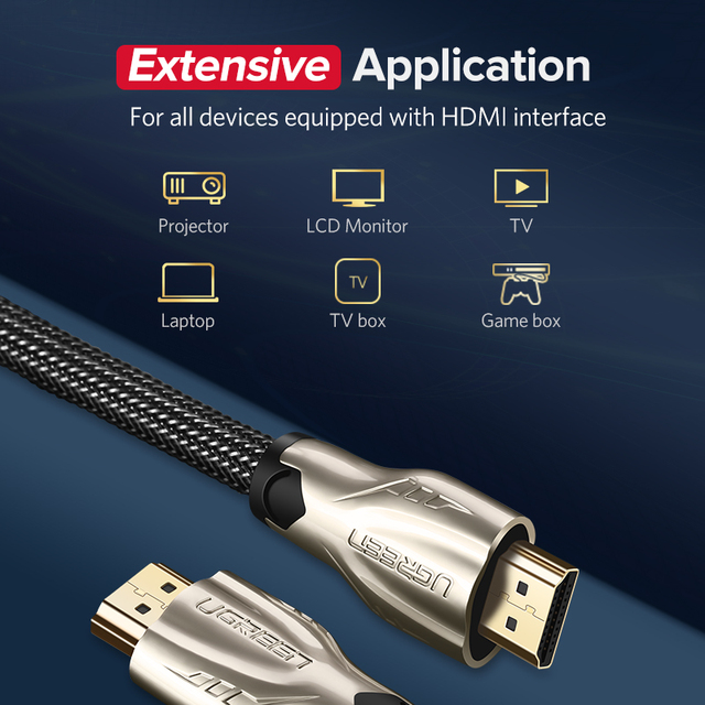Ugreen HDMI Cable 4K HDMI to HDMI 2.0 Cable Cord for PS4 Apple TV 4K Splitter Switch Box Extender 60Hz Video Cabo Cable HDMI 2