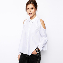 Roupas Feminina 2016 Cold Shoulder Tops Massimo Shirt Korean Style Fashion Ladies Office Blouses Cool Shirts Solid White Chemise
