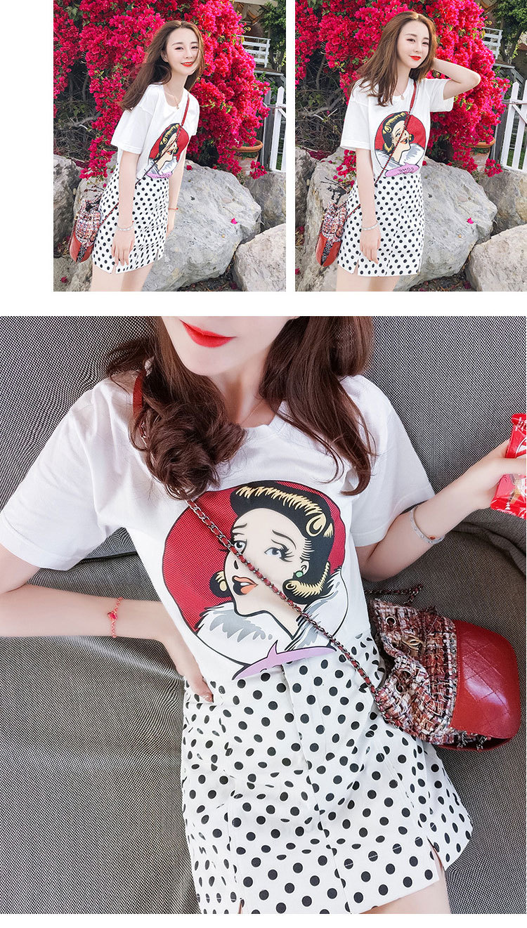 Fashionable Wave Dot Skirt Suit Female Summer 2019 New Head Print T-shirt Shake Tone Web Celebrity Same