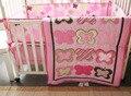 Promoção! 4 pcs bordado jogo de cama de algodão menina conjuntos de berço, Incluem ( pára choques capa de edredão de cama saia )