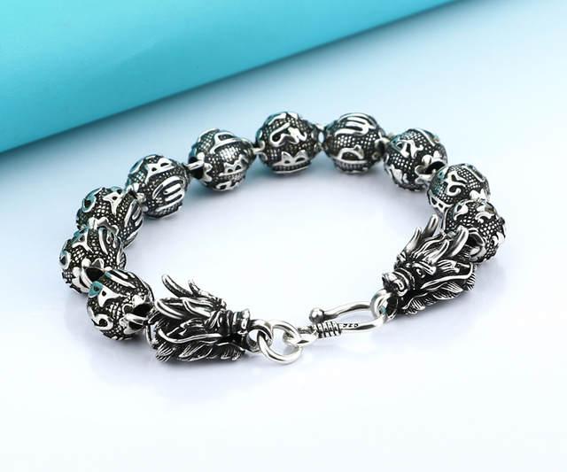 plus récent af4c1 abb4f Bracelet de dragon en argent thaïlandais. 100% solide 925 argent 12 mm23cm  homme bracelet, 46 grammes de large bracelet