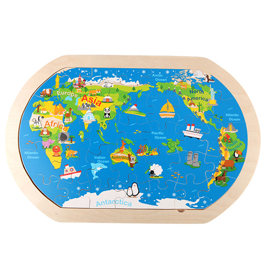 Wooden Puzzle Jigsaw Map World Children Educational Toys Learning New Year Gift Knutselen Kinderen Christmas Kids Games 60D0004 magnetic wooden puzzle toys for children educational wooden toys cartoon animals puzzles table kids games juguetes educativos