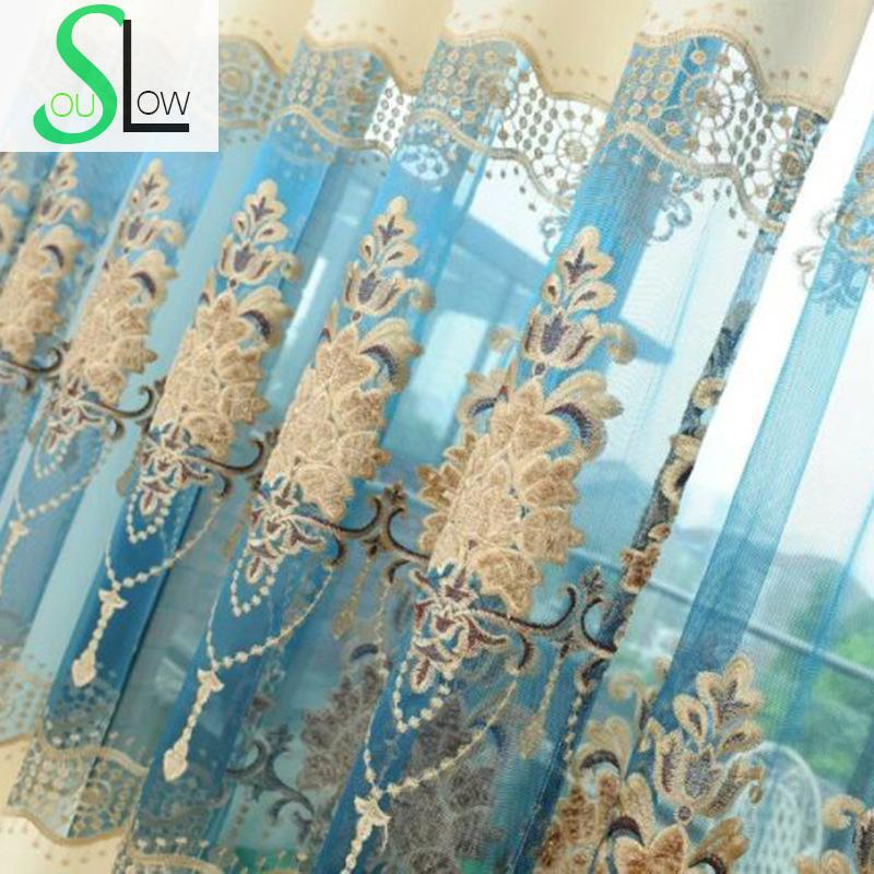Slow Soul European Cotton Embroidery Blue Brown Curtain Embroidered ...