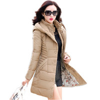 Wadded Cotton New Tide Korean Slim Was Thin Long Thick Hooded Large Size Cotton Jacket Female