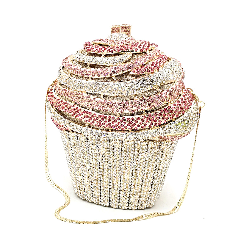 Fashion Women Accessories Beautiful Diamonds Luxury Clutches Big Cupcake Ice Cream Crystal Purses Bridal Wedding Party Purses