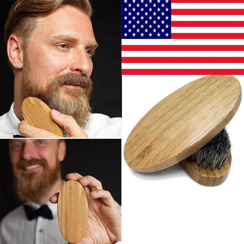 New Arrival Mens Boar Hair Bristle Hard Round Wood Handle Beard Mustache Brush Set maquiagem 1