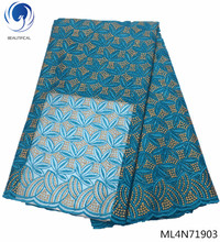 BEAUTIFICAL embroidery lace fabric african blue color 5yards/lot top quality free shipping sales ML4N719