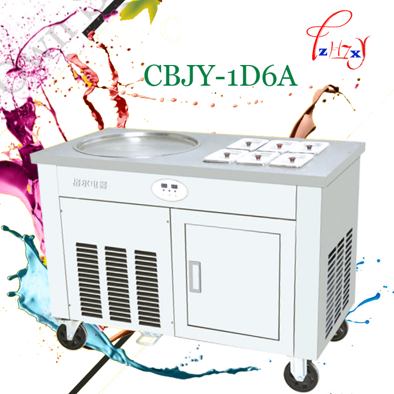 110V-220V Commercial Fried Ice Cream Machine Fried Yogurt Machine Fried Milk Roll Machine A Single Pot With Cold Storage Cabinet