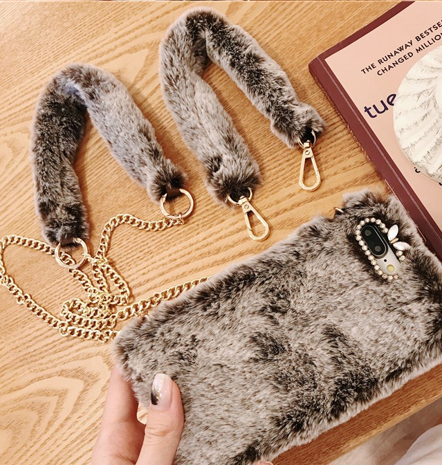 Image 5 - For iphone XS MAX warm case luxury plush fluffy crossbody chain phone bag for iphone11 pro max CASE XR X 6 6S 7 8 plus  coverFitted Cases   -